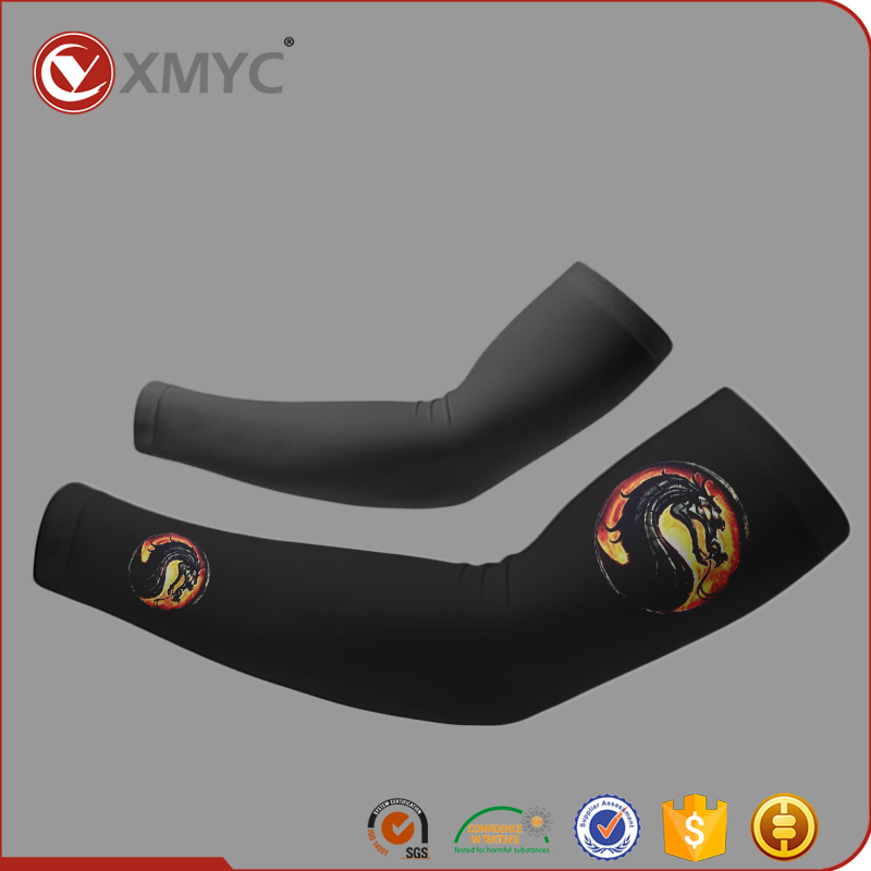 Wholesale Anti UV Sun Protective Digital Printing Black Arm Sleeves for Cycling