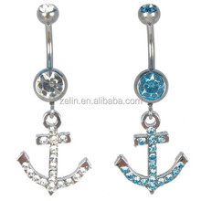 Anchor with stones navel ring body jewelry supplies