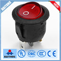 New product 6A/10A 3pin red light circular rocker switch