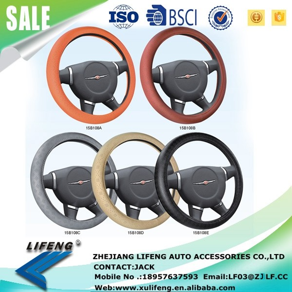 2016 New promotional hot selling Four Seasons general genuine LEATHER punched hole car 15B1108 steering wheel cover
