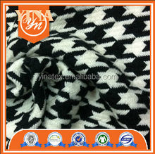 100% acrylic black and white houndstooth fabric