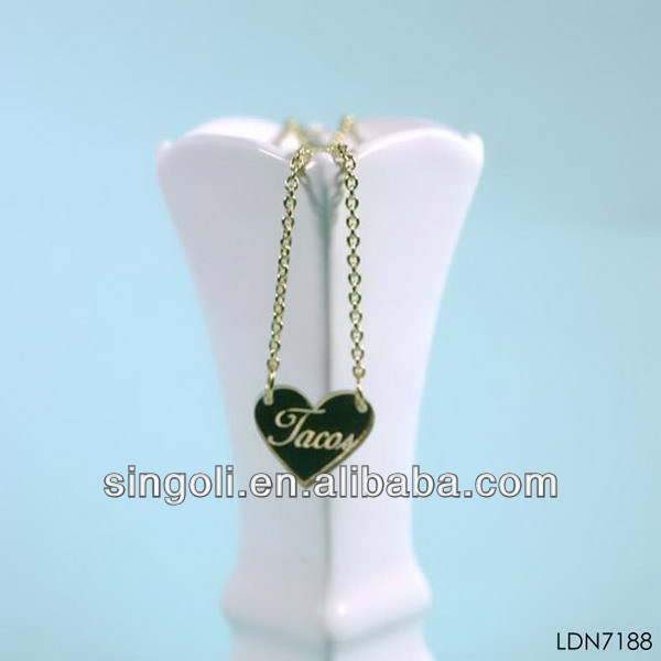 2014 new designs wholesale alibaba rhinestone letters carved name inlay black love shape pendant necklace gifts for lover