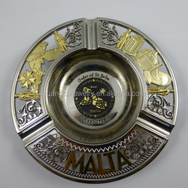 Malta tourism souvenir custom made zinc alloy antique brass ashtray