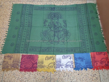 ganesha hand printed scarves pareo sarongs