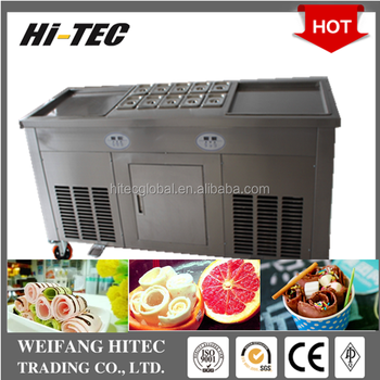 Hot Selling 2017 Upgrade Fried Ice Cream Machine With Double Pans Ten Holes