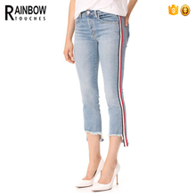 Wholesale New Design Sexy Skinny Woman Side Stripe Denim Jeans