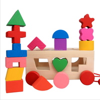 Wooden intelligence blocks pull along shape puzzle toy for kids