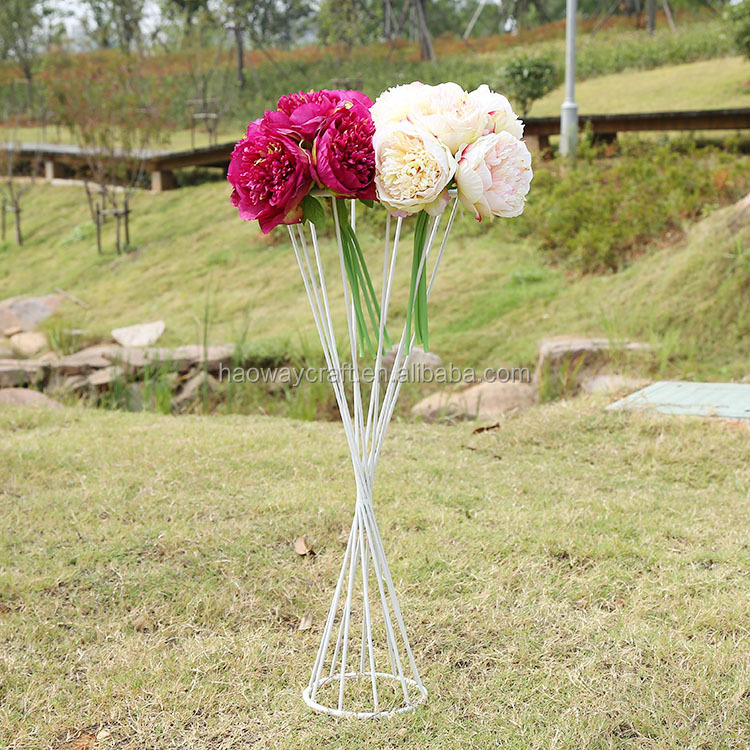 Wedding centerpiece white flower stand tall arranging stands