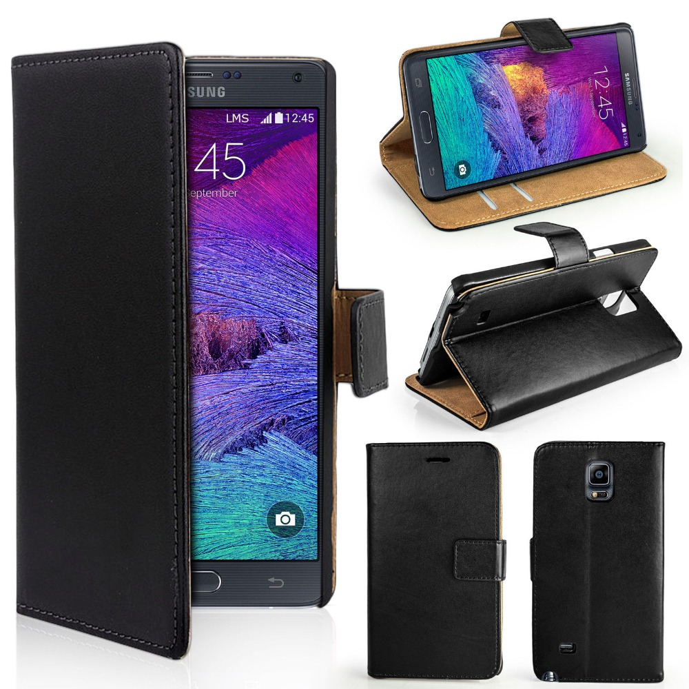 shenzhen mobile phone accessories Genuine Real Leather case Photo Flip Wallet Case For Samsung Galaxy Note 4 N910