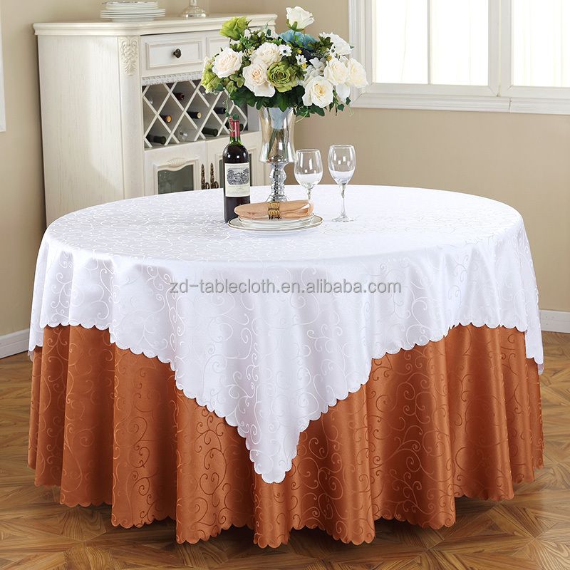 Factory design round damask wedding party table cloth