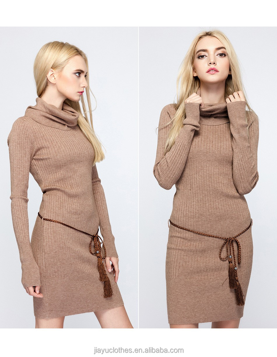 Three colors women long sleeve with high neck knitting dress high quality fashion sweater dress