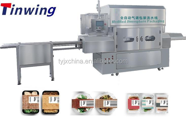 Automatic MAP packing machine for plastic trays
