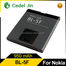 3.7v 950mah mobile li-ion battery BL-5F for nokia n98 6210n/6210s/6260s/6290/6710n