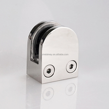 D shape glass banisters clip firm stainless steel glass hardware clamp from foshan manufactory