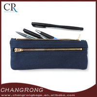 Navy Blue Canvas Pencil Case with Double Zipper
