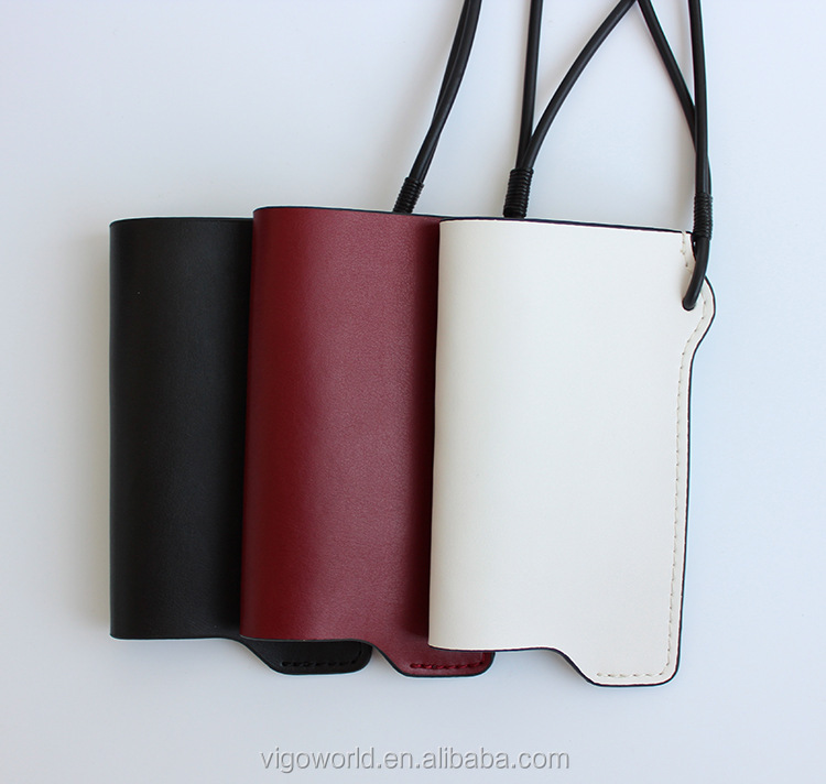 New fashion cow genuine leather cell phone case pouch with neck strap