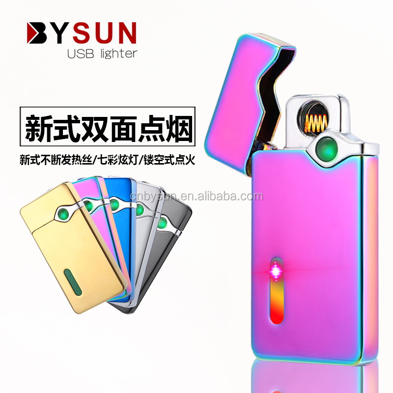Newest style of double side hollow type heating wire electric cigarette usb lighter with dazzle light