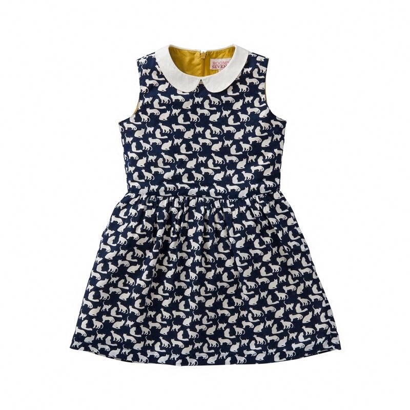 Children Frocks Designs Summer Kids Dress Printed Sleeveless Children'S Wear