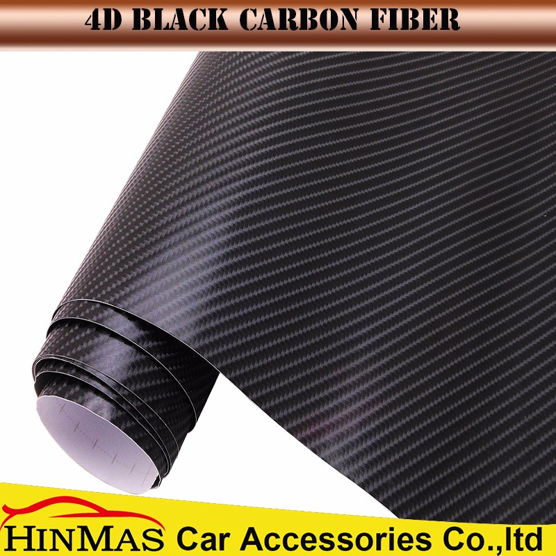 Car styling 4d black gloss carbon fibre vinyl for car exterior decoration
