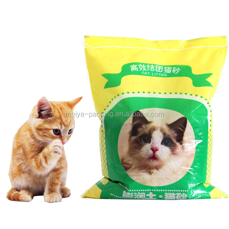 Chinese Manufacturer colorful woven cat litter bag Custom Printed Stand Up Clear Window Cat Litter Bag