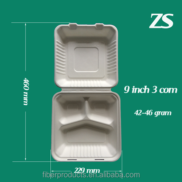 Compostable bagasse lunch box