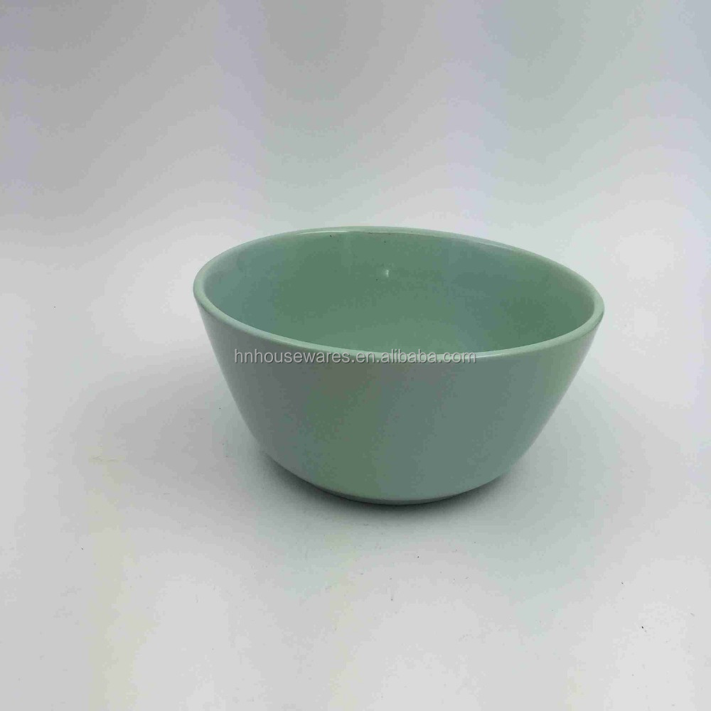 Light blue color glazed 6.25 inch ceramic stoneware bowl stock