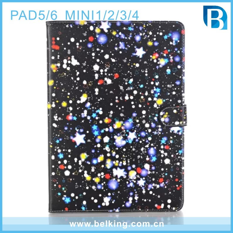 Starry sky start graffiti art print tablet flip wallet cover case for ipad mini 1234 with card slot
