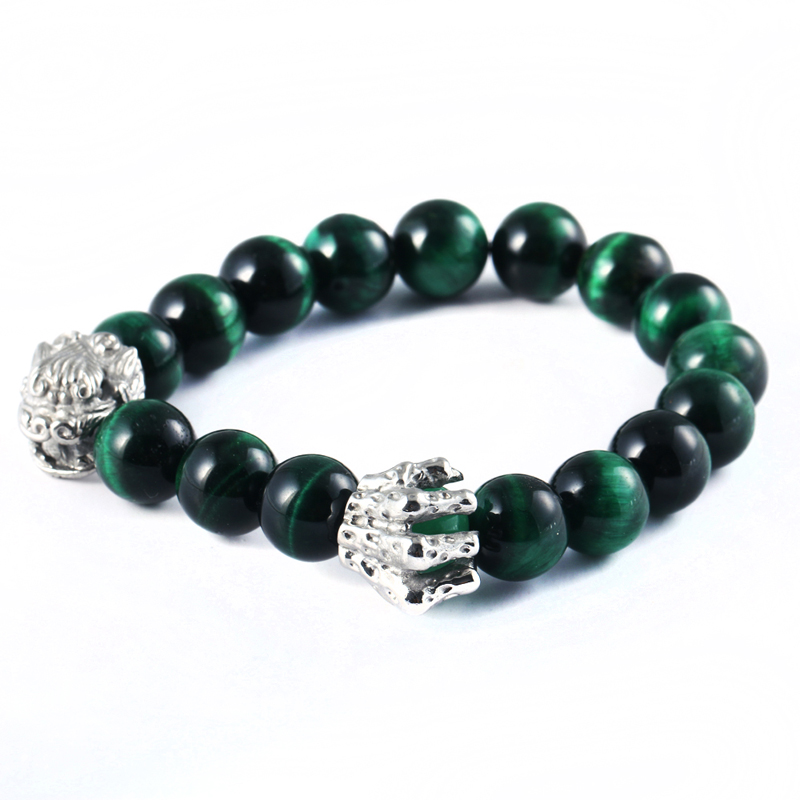 High Quality Sliver Stainless Steel Lion Skull Emerald Bead For Men Charm