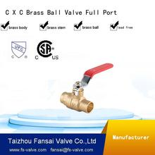 "High quality lead free copper cSA forged two piece body 3/4"" DN 20 C*C sweat full port brass ball valve"
