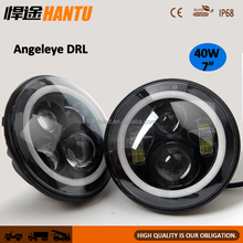 "7"" Led Headlights Angel Eyes for JEEP Wrangler Daytime Running Light 97-15TJ JK DRL Accssories Turn Singal fog lamp/:HT-G08A40"