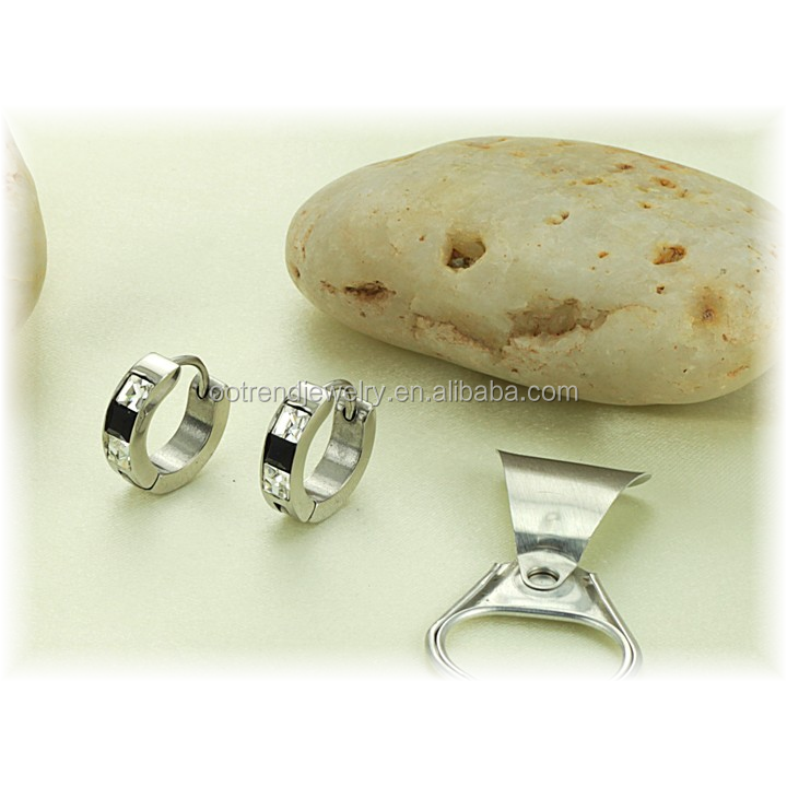 Clear black square stone earring for man