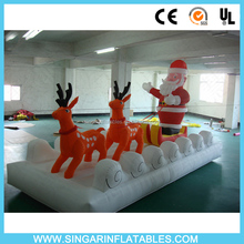 Best selling inflatable santa clause with deers pulling cart for sale