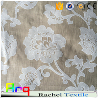 poly rayon linen blend heaby soft fabric- big flower jacquard design fabric for curtain, beddings using