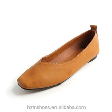 Solid Color Women Flat Shoes Slip-on V Glyph Design Round-toe Comfort
