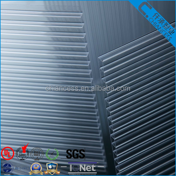 Withe UV layer Greenhouse roofing material polycarbonate Hollow sheet flat PC panels