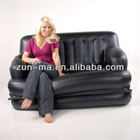 China factory inflatable 5 in 1 air sofa bed; PVC blow up folding sofa bed queen size