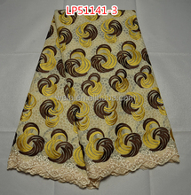 african brown and yellow swiss lace fabric LP51141-3 swiss nylon folded yarns fabric lace cotton lace fabric