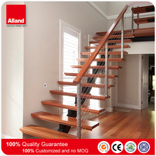 Prefab glass wood stairs , single beam stairs