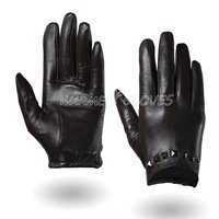 WARMEN Punk Rock Women short Driving Performance motorbike motorcycle mittens Genuine Soft Leather Gloves