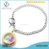 Fashion stainless steel Cuban Chain with 316l stainless steel gold locket bracelet