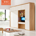 Wholesale custom made wooden luxury sliding door bedroom clothes cabinet garderobe design