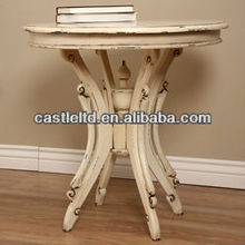 Distressed Anqiue wooden carved round top Accent Table