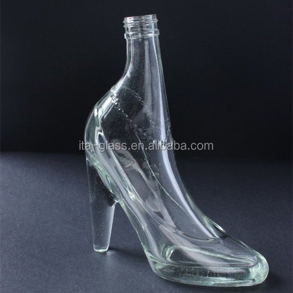 china wholesale factory price clear decorative high heeled shoes shape 170ml glass bottle/vodka glass bottle/glass wine bottle