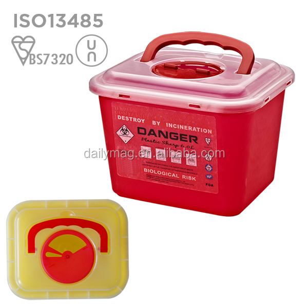 2017 new design UN3291 Hospital use disposal 6L sharps container for needles