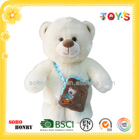 custom plush bear toy white bear toy with bag