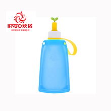 Easy to carry outdoor silicone foldable sport water bottle