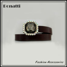 latest design brown embellished belt with crystal buckle