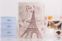 Classical National Landmark flip case Eiffel Tower for IPad 5 Silk pattern PU leather case cover case