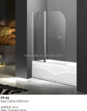 Clear Tempered glass shower screen with swing pivot for bathtub using