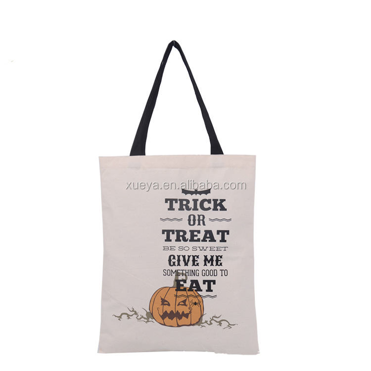 2017 Promotional wholesale organic cotton tote bag with handle for Halloween Day